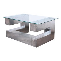 Paul Evans Cityscape Style Chrome and Glass Cantilevered Coffee Table
