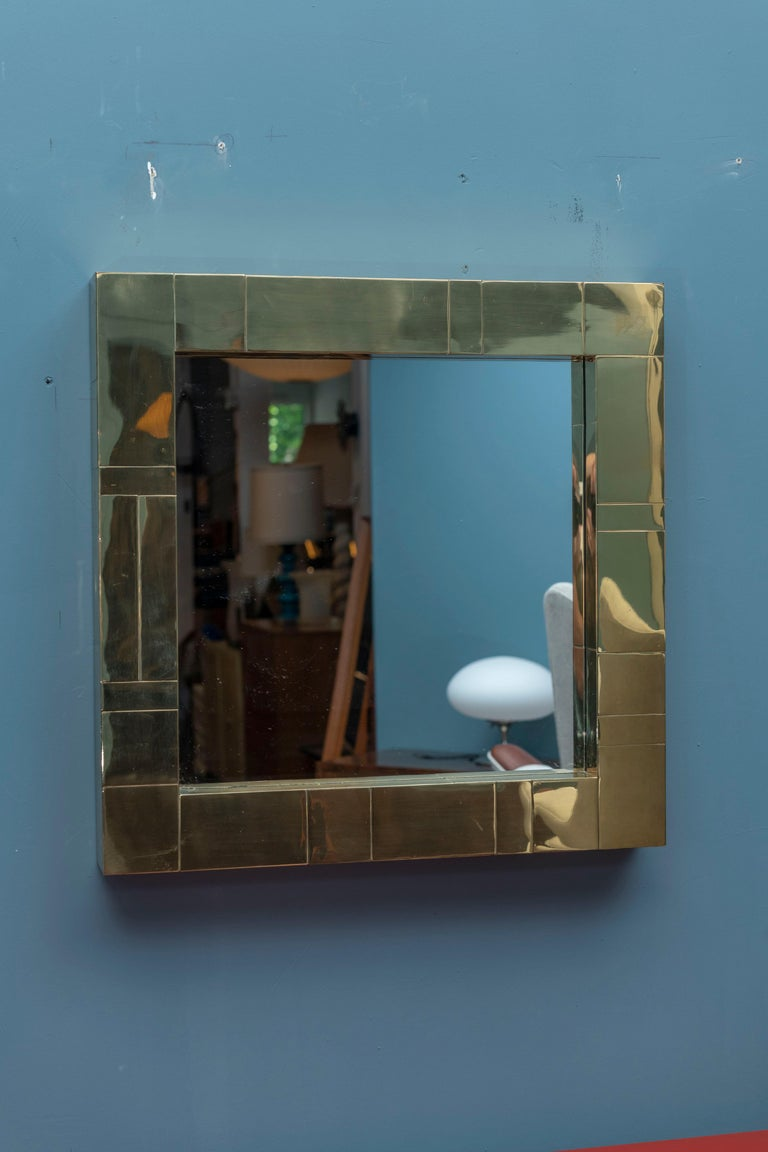 Paul Evans Cityscape brass wall mirror. In very good condition with signs of age and use, ready to install.