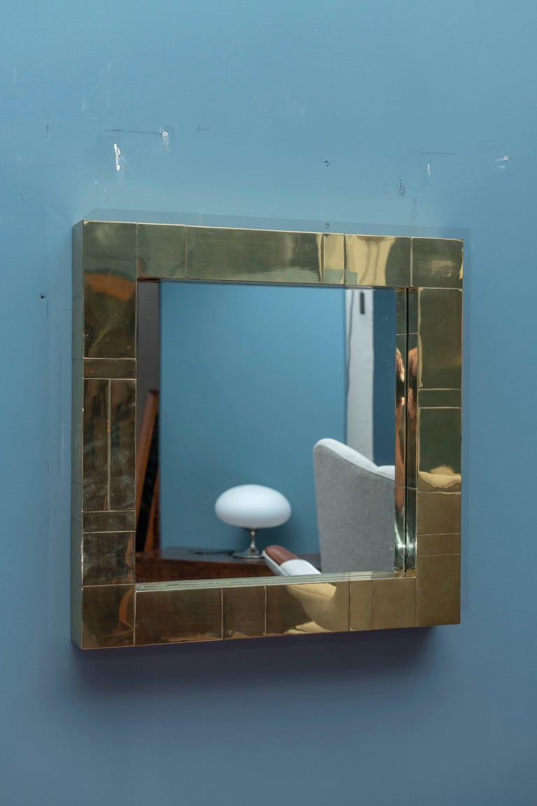 Brass Paul Evans Cityscape Wall Mirror For Sale