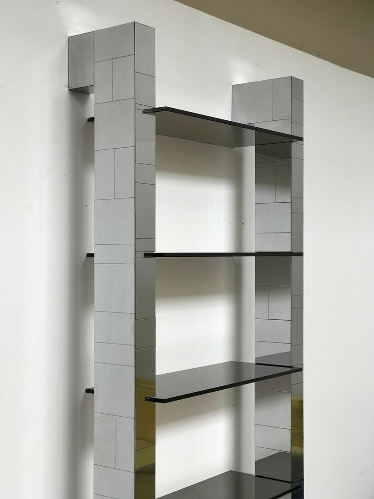 Excellent Paul Evanscityscape buttress wall shelves in chrome plated wood with five moveable 1/2