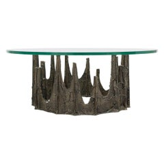 Paul Evans Coffee Table, Sculpted Bronze and Glass, Signed