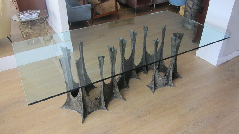 Metal Paul Evans Complete Sculpted Bronze Dining Room Setting  For Sale