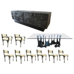 Paul Evans Complete Sculpted Bronze Dining Room Setting