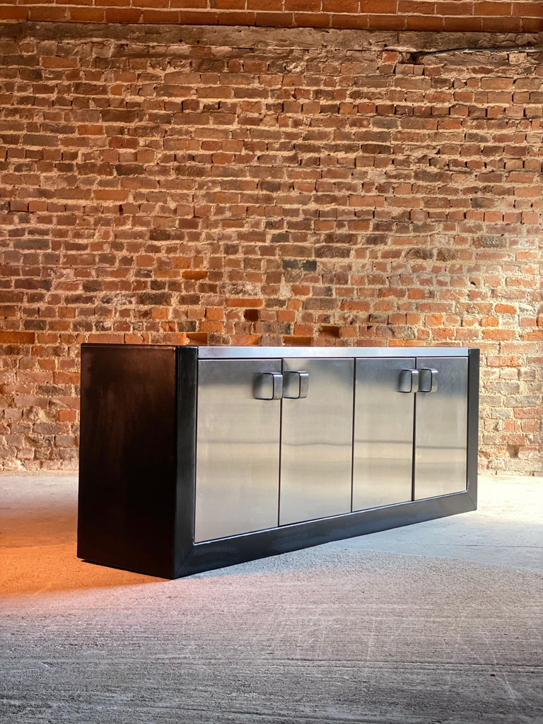 Late 20th Century Paul Evans Custom Steel Sideboard Credenza Credenza, USA, circa 1970 For Sale