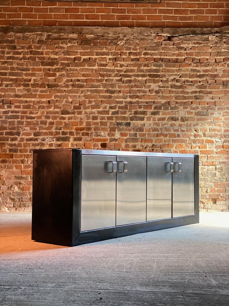 Stainless Steel Paul Evans Custom Steel Sideboard Credenza Credenza, USA, circa 1970 For Sale