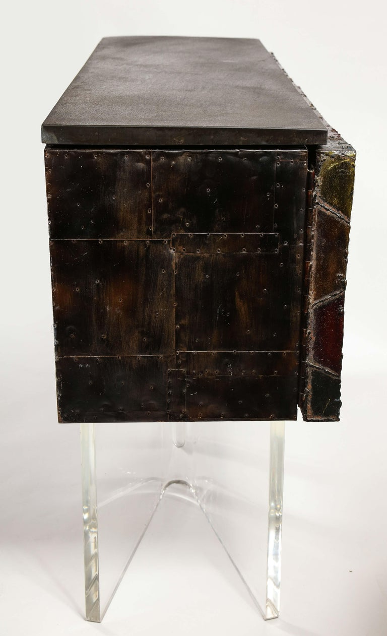 Paul Evans Deep Relief Cabinet Designed in Metal For Sale 2