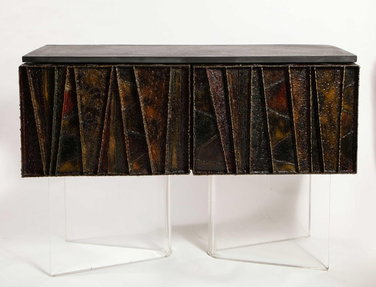 """An exceptional Paul Evans signed and dated 1972 handcrafted """"Deep Relief"""" Brutalist sideboard/cabinet made of brushed polychrome steel, slate, and wood. This a truly unique and modern angular form piece of furniture. Paul Evans is well known for his"""