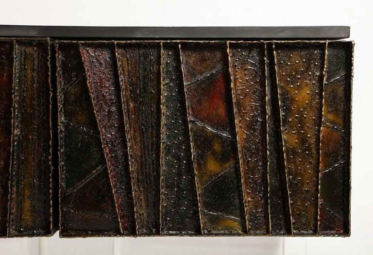 Mid-Century Modern Paul Evans Deep Relief Cabinet Designed in Metal For Sale