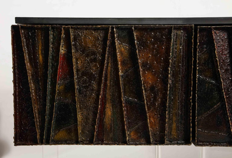 American Paul Evans Deep Relief Cabinet Designed in Metal For Sale