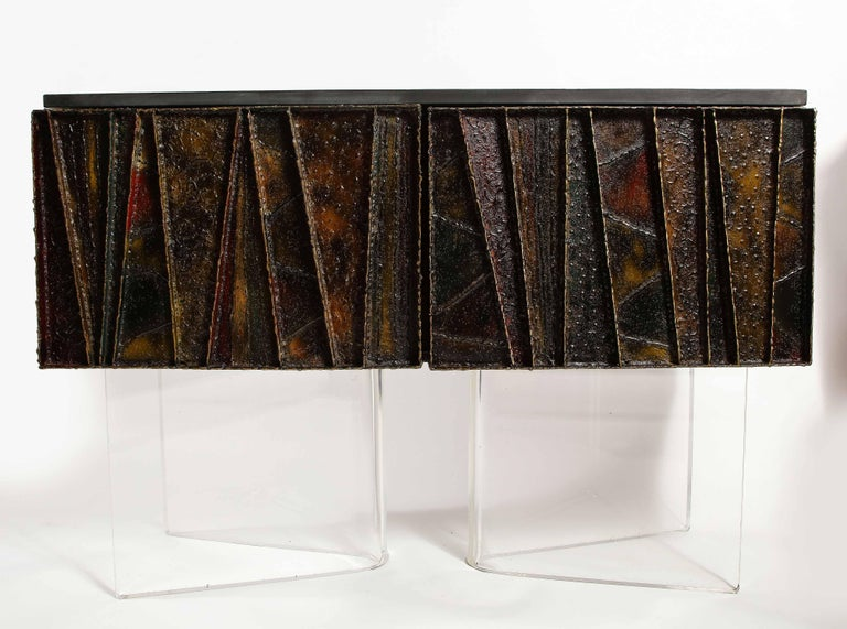 Hand-Crafted Paul Evans Deep Relief Cabinet Designed in Metal For Sale