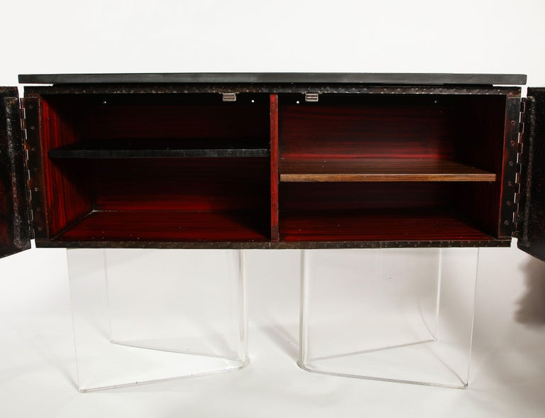 Paul Evans Deep Relief Cabinet Designed in Metal In Good Condition For Sale In New York, NY
