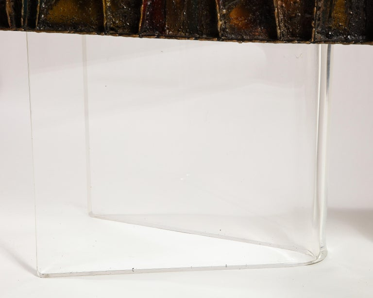 Late 20th Century Paul Evans Deep Relief Cabinet Designed in Metal For Sale