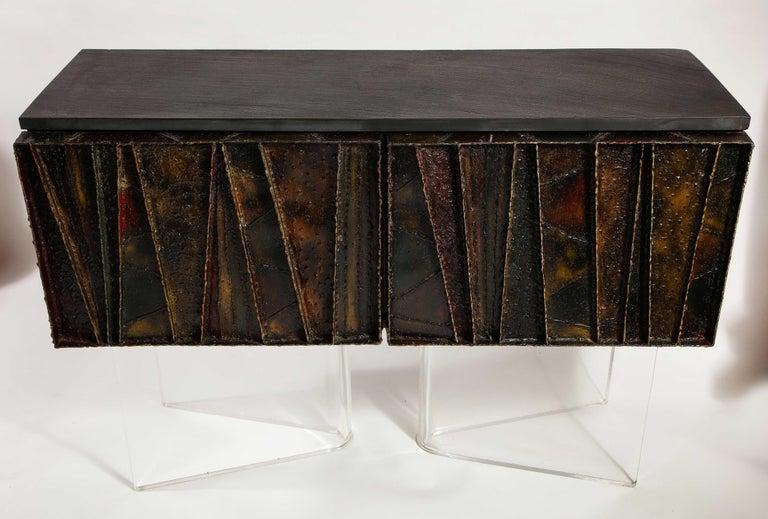 Steel Paul Evans Deep Relief Cabinet Designed in Metal For Sale