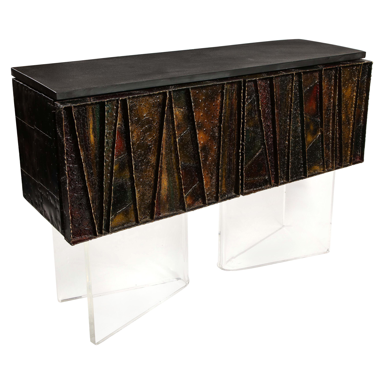 Paul Evans Deep Relief Cabinet Designed in Metal