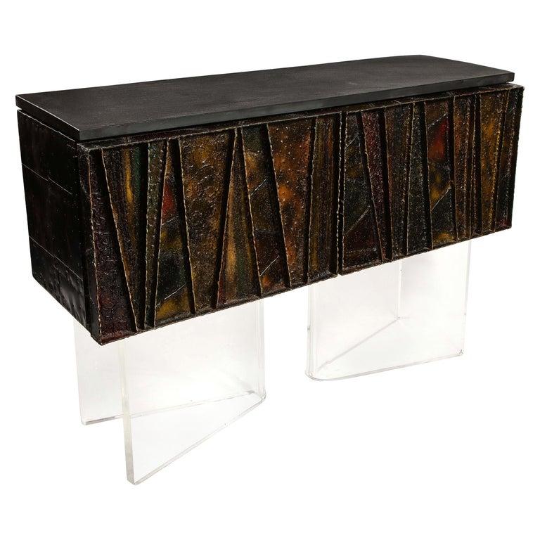 Paul Evans Deep Relief Cabinet Designed in Metal For Sale