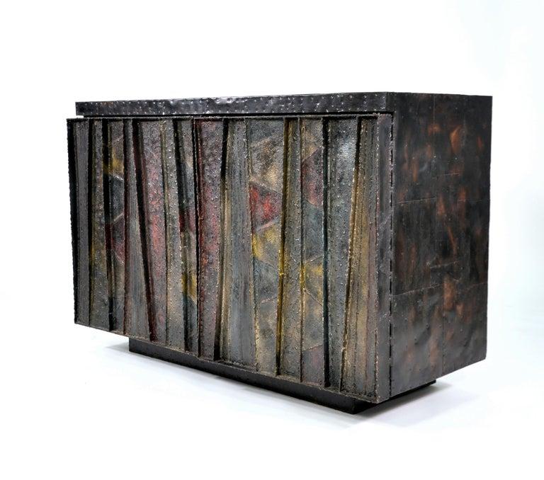 Brutalist Paul Evans Deep Relief Cabinet For Sale