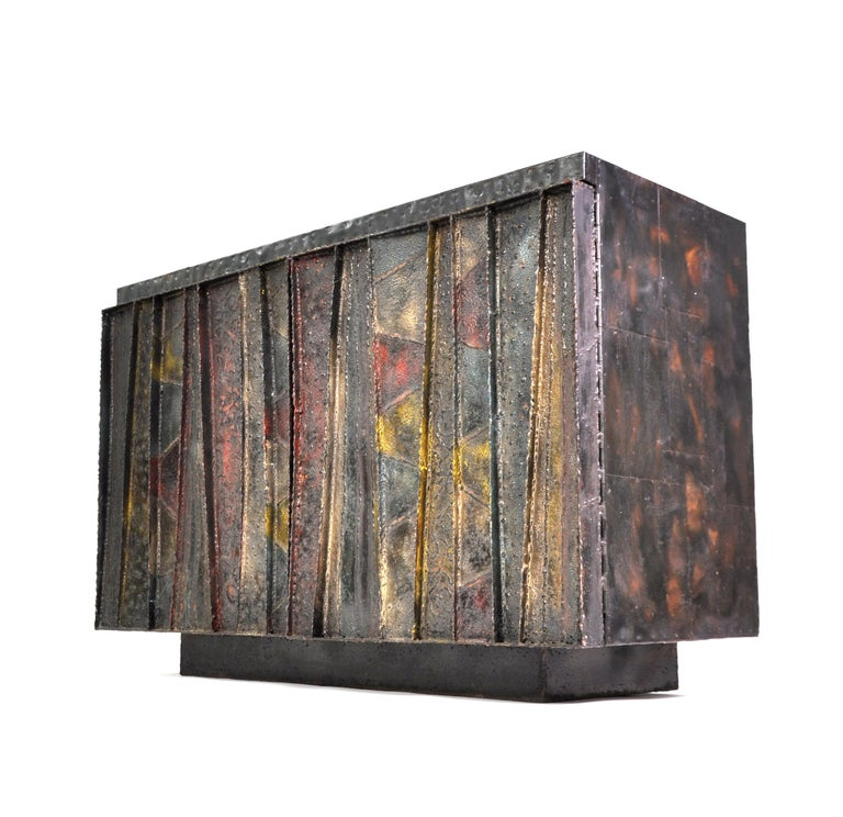Patinated Paul Evans Deep Relief Cabinet For Sale