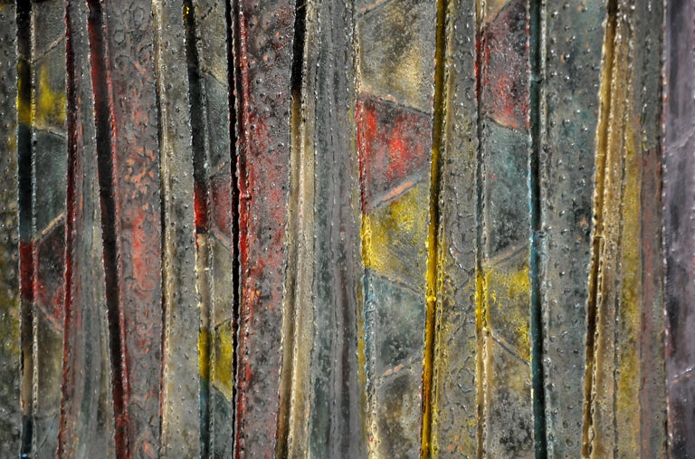 Steel Paul Evans Deep Relief Cabinet For Sale