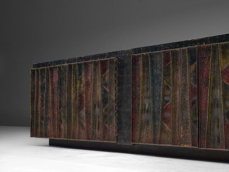 Paul Evans 'Deep Relief' Sideboard in Metal For Sale 4