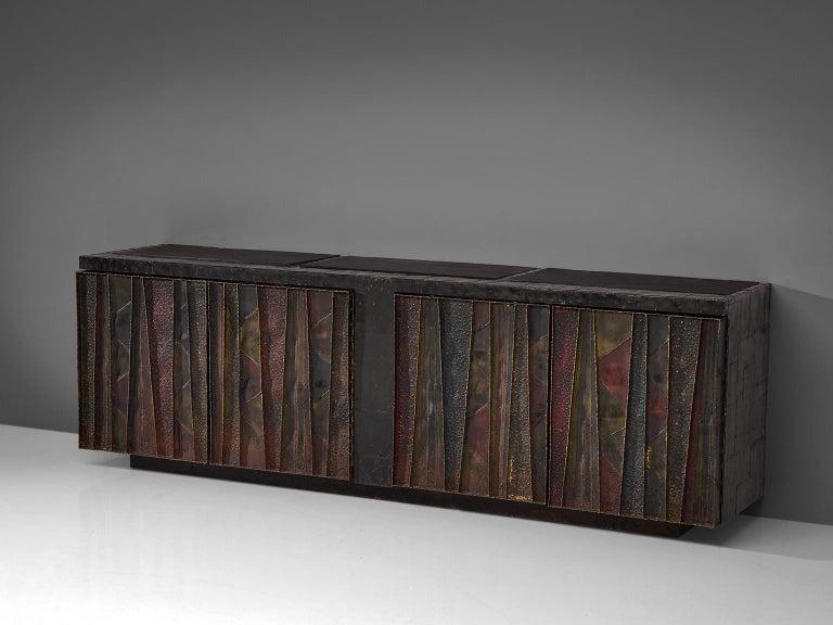 Paul Evans for Paul Evans Studio, steel, slate, wood, United States, 1972  Paul Evans handcrafted