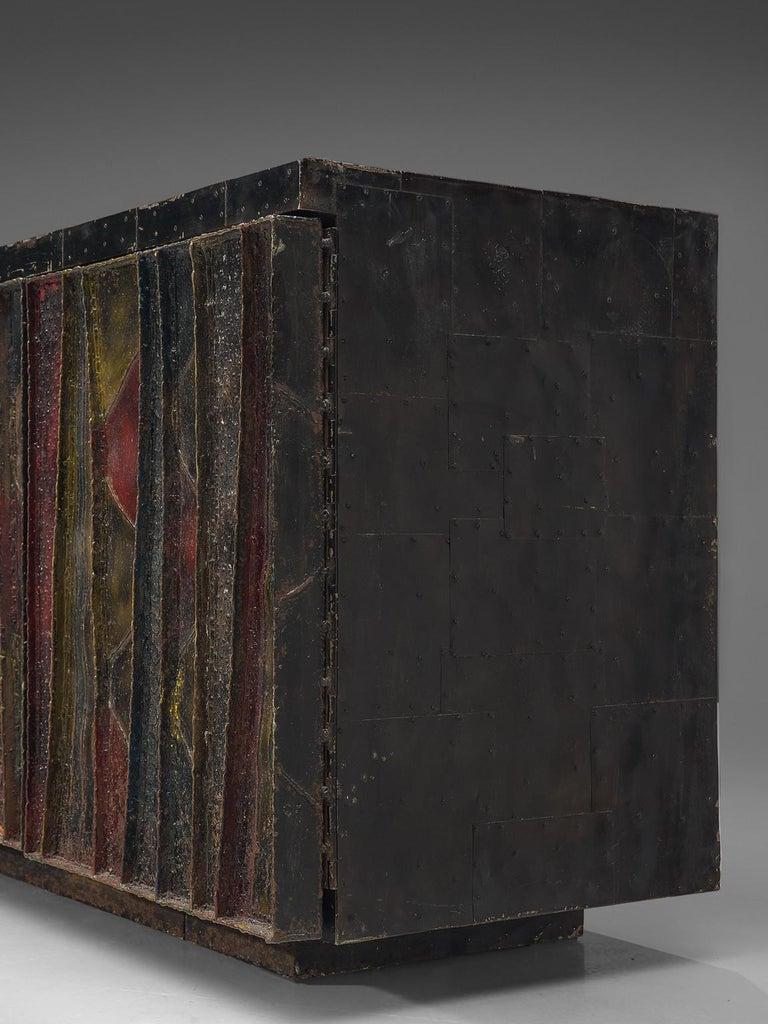 American Paul Evans 'Deep Relief' Sideboard in Metal For Sale