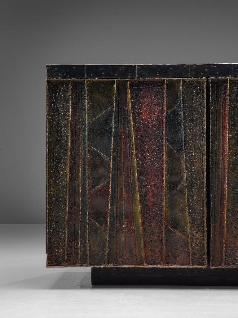 Paul Evans 'Deep Relief' Sideboard in Metal In Good Condition For Sale In Waalwijk, NL
