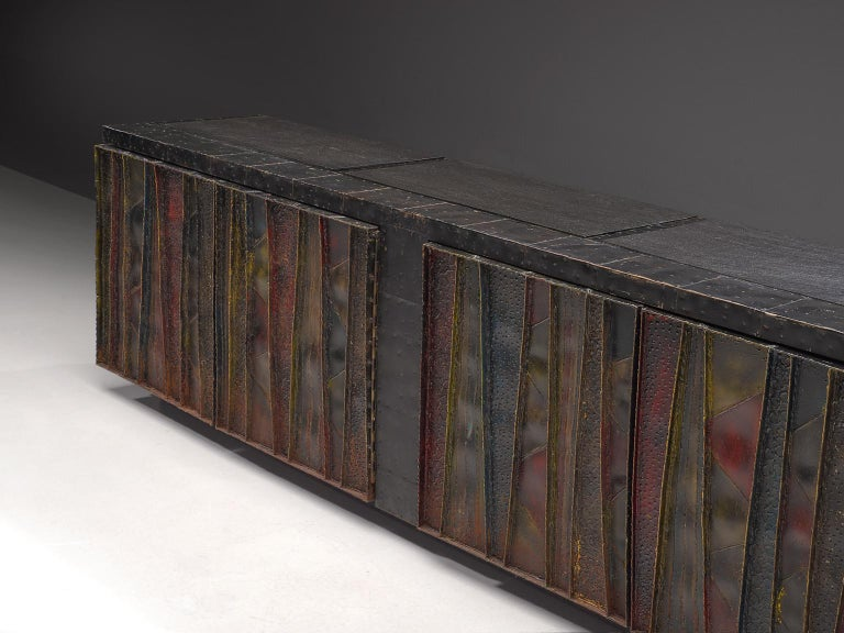 Late 20th Century Paul Evans 'Deep Relief' Sideboard in Metal For Sale