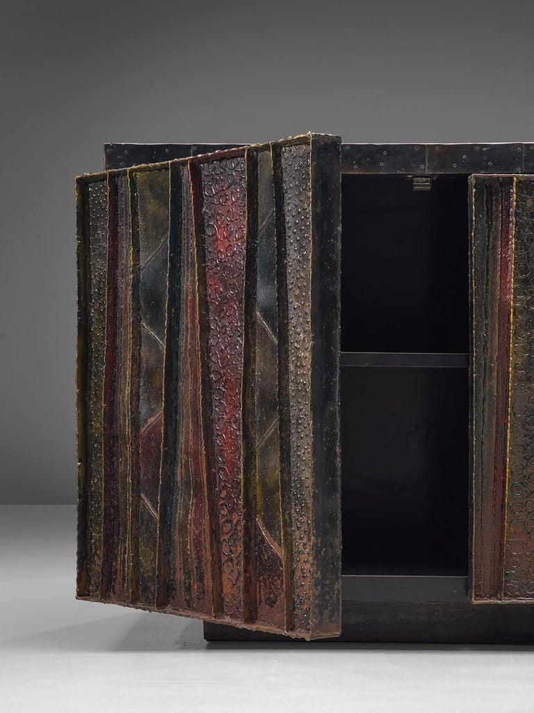 Paul Evans 'Deep Relief' Sideboard in Metal For Sale 1