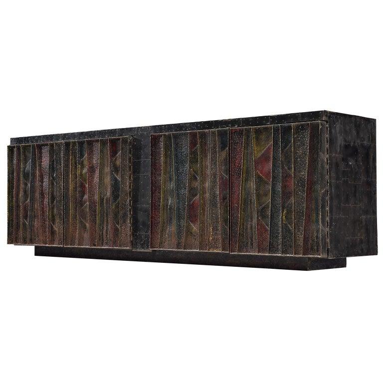 Paul Evans 'Deep Relief' Sideboard in Metal For Sale
