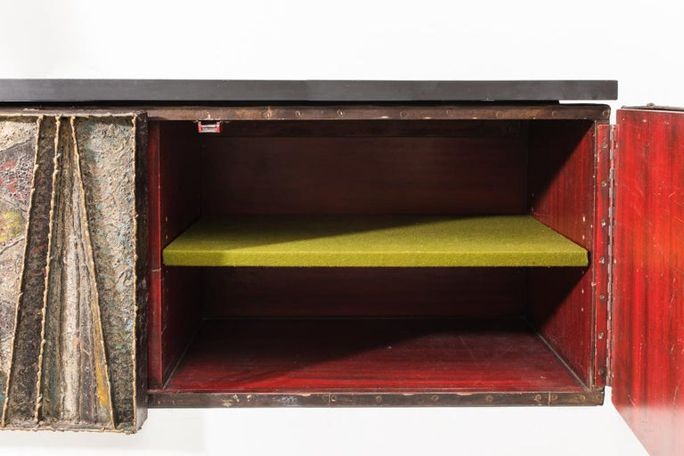 20th Century Paul Evans, Deep Relief Wall-Mounted Console (PE 19), USA, c.1970 For Sale