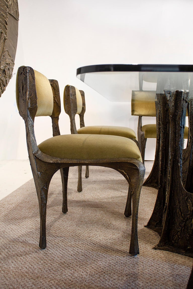 Paul Evans Dining Set in Sculpted Bronze, 1969 For Sale 4