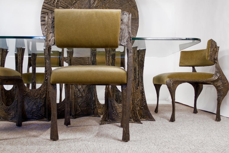 Paul Evans Dining Set in Sculpted Bronze, 1969 For Sale 5