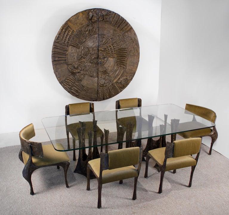 Brutalist Paul Evans Dining Set in Sculpted Bronze, 1969 For Sale