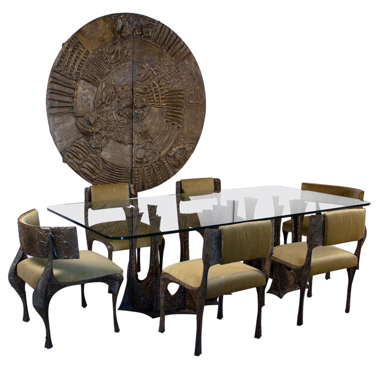 Paul Evans Dining Set in Sculpted Bronze, 1969 For Sale