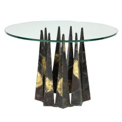 Paul Evans Dining Table Brass Steel Glass Crown of Thorns, USA, 1960s