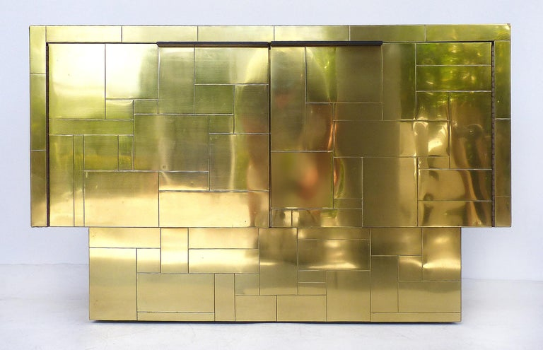 20th Century Paul Evans Directional Brass Cityscape Credenza Cabinet with 2 Doors For Sale