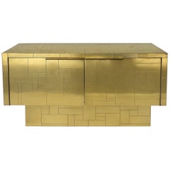 Paul Evans Directional Brass Cityscape Credenza Cabinet with 2 Doors