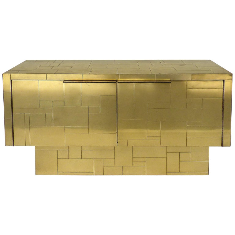 Paul Evans Directional Brass Cityscape Credenza Cabinet with 2 Doors For Sale