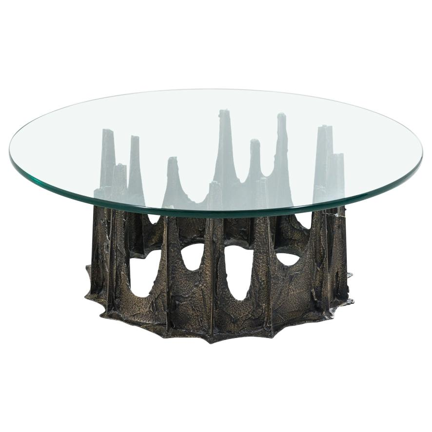 Paul Evans, Directional Stalagmite Sculpted Bronze Low Table, USA