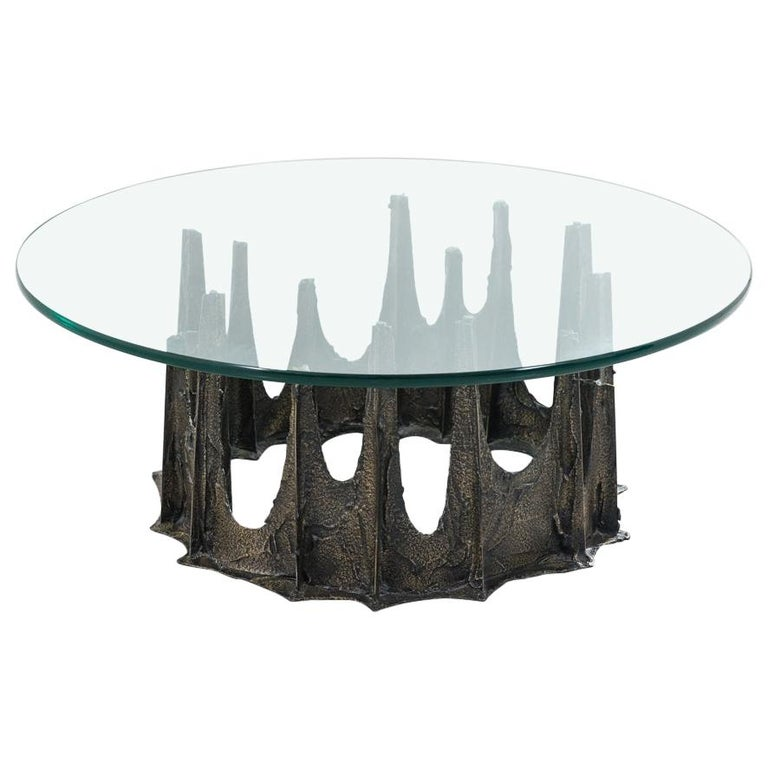 Paul Evans, Directional Stalagmite Sculpted Bronze Low Table, USA For Sale
