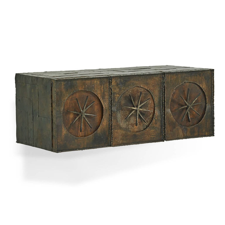 Mid-Century Modern Paul Evans Early Wall-Mounted Torch Cut Metal Patchwork Cabinet, USA 1960s For Sale