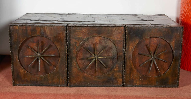 American Paul Evans Early Wall-Mounted Torch Cut Metal Patchwork Cabinet, USA 1960s For Sale