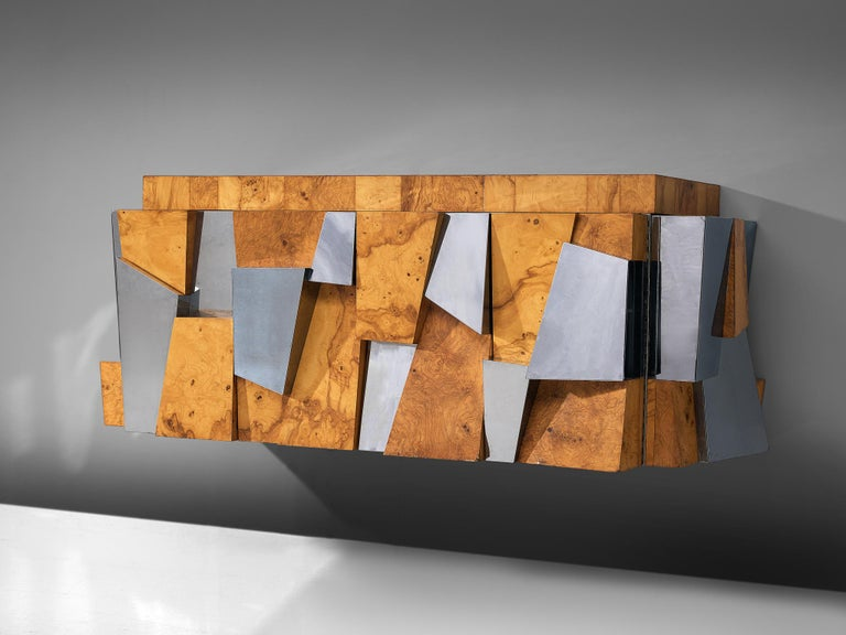 American Paul Evans 'Faceted' Wall-Mounted Sideboard in Chrome and Burl For Sale