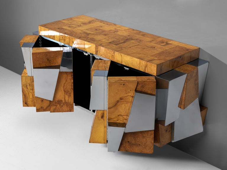 Steel Paul Evans 'Faceted' Wall-Mounted Sideboard in Chrome and Burl For Sale