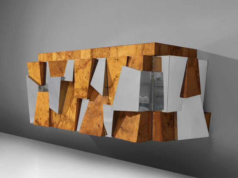 Paul Evans 'Faceted' Wall-Mounted Sideboard in Chrome and Burl For Sale 1