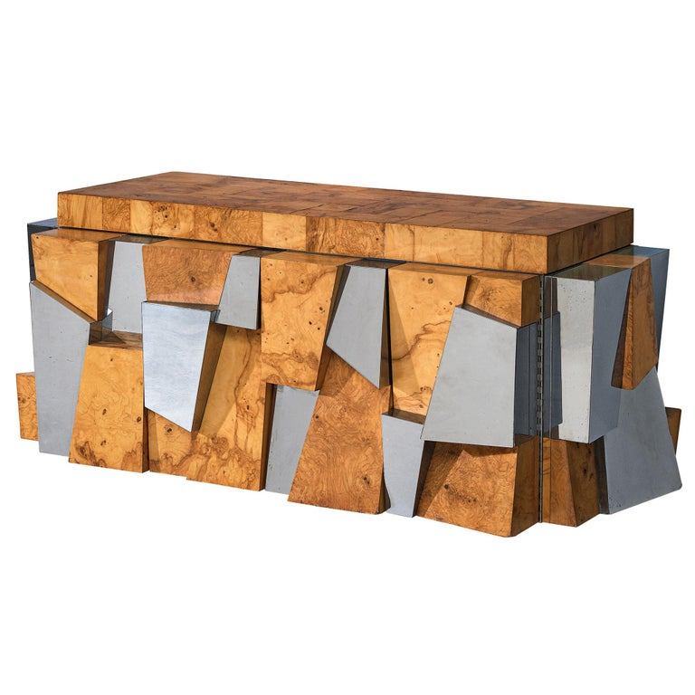 Paul Evans 'Faceted' Wall-Mounted Sideboard in Chrome and Burl For Sale