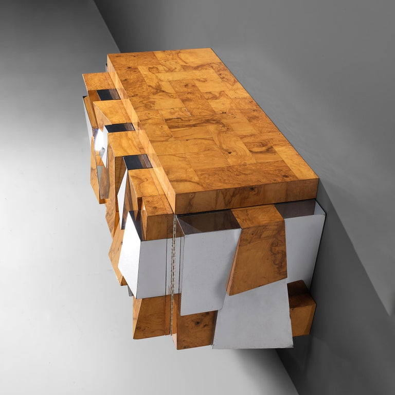 American Paul Evans 'Faceted' Wall Sideboard in Chrome and Burl For Sale