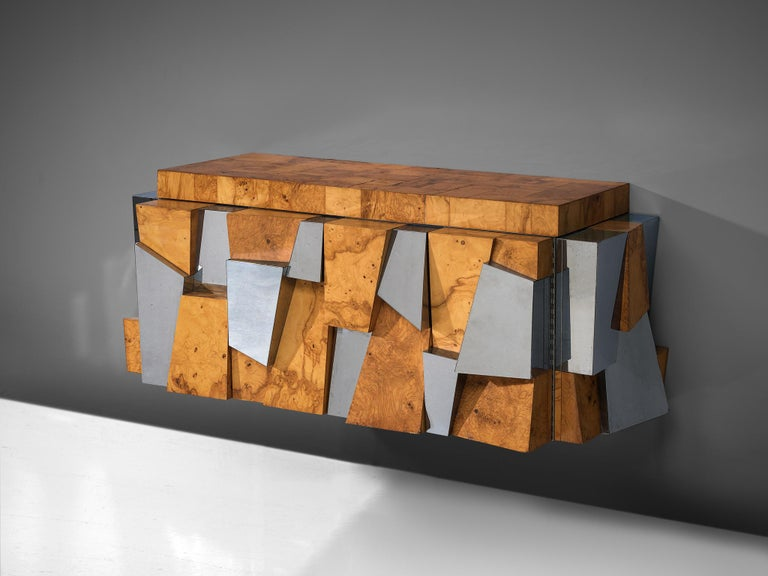 Paul Evans 'Faceted' Wall Sideboard in Chrome and Burl In Good Condition For Sale In Waalwijk, NL