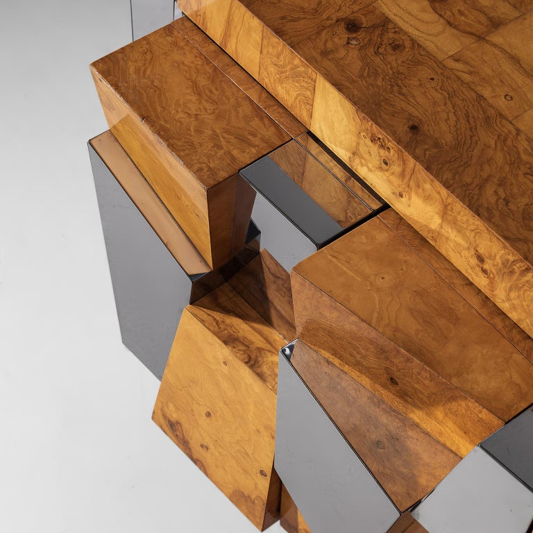 Late 20th Century Paul Evans 'Faceted' Wall Sideboard in Chrome and Burl For Sale