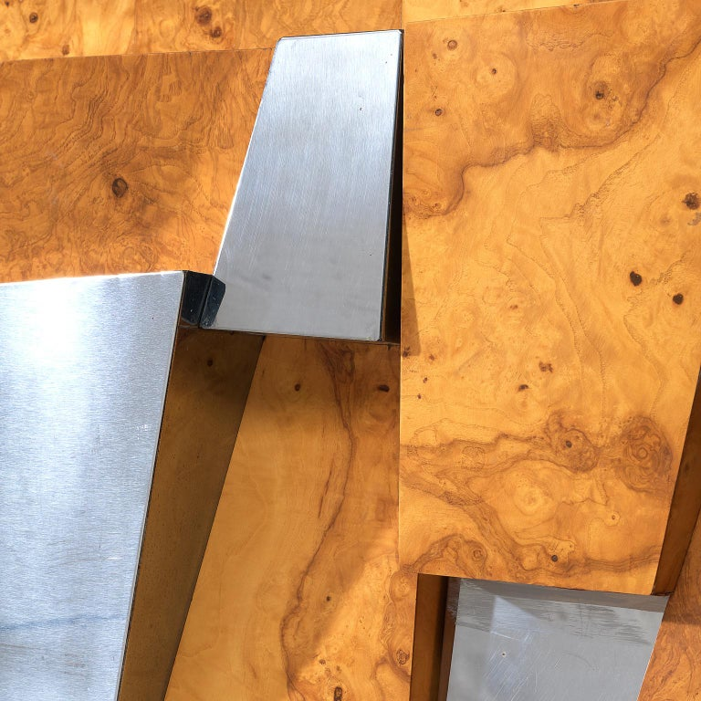 Paul Evans 'Faceted' Wall Sideboard in Chrome and Burl For Sale 2